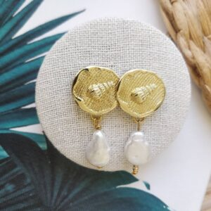 Pendientes bisutería dorados concha y perla natural