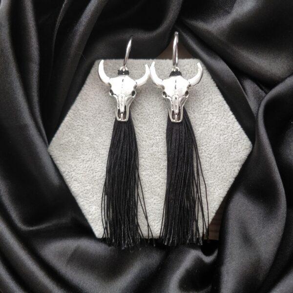 Pendientes plata flecos negros
