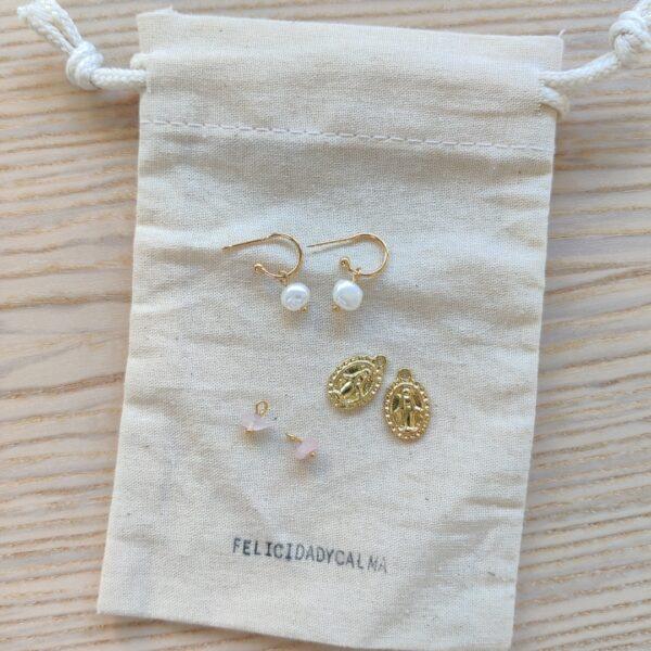 Pendientes perla y cuarzo